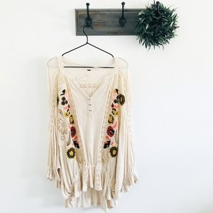 Free People Floral Boho Tunic Blouse L